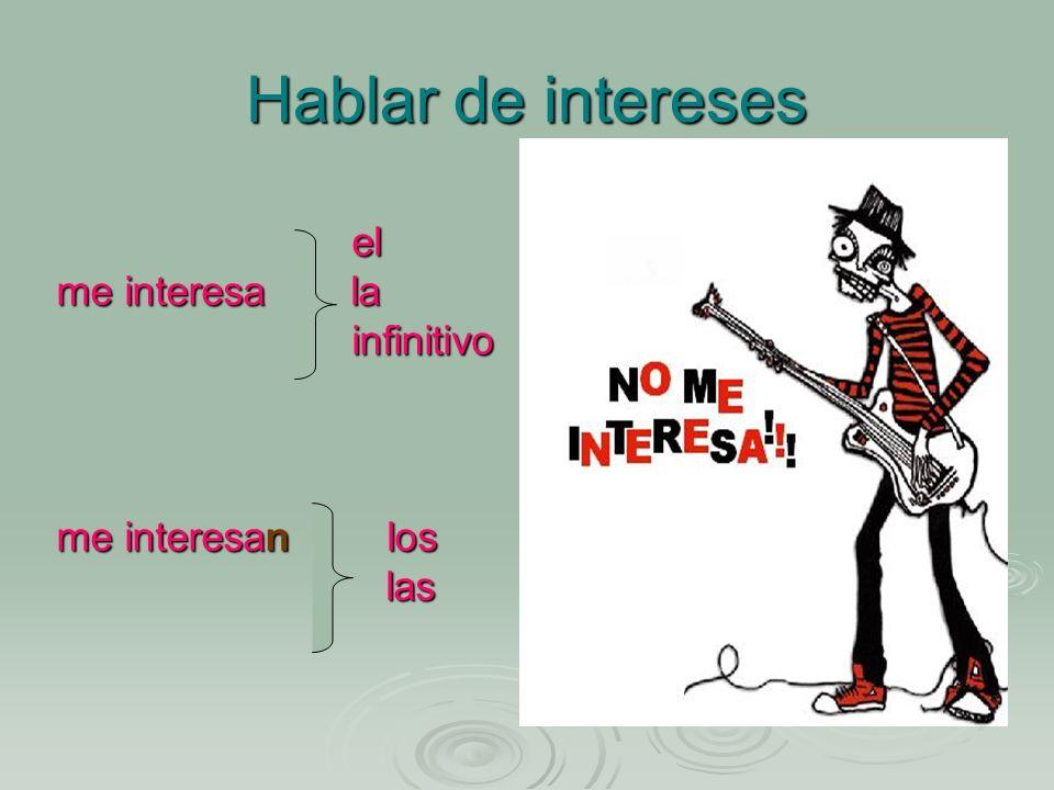 Hablar de intereses el el me interesa la infinitivo infinitivo me interesan los las las