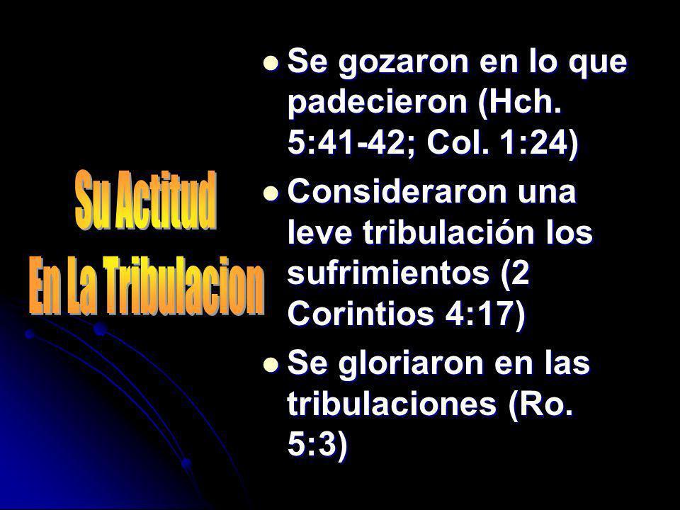 Se gozaron en lo que padecieron (Hch. 5:41-42; Col. 1:24) Se gozaron en lo que padecieron (Hch. 5:41-42; Col. 1:24) Consideraron una leve tribulación