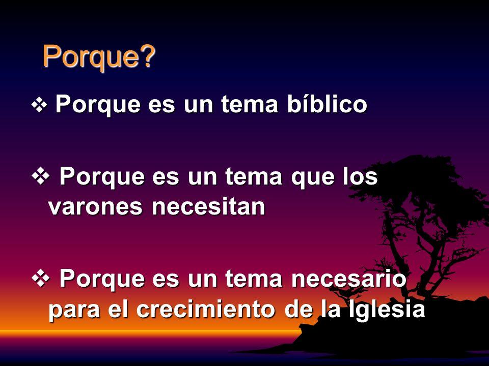 Porque? Porque es un tema bíblico Porque es un tema bíblico Porque es un tema que los varones necesitan Porque es un tema que los varones necesitan Po