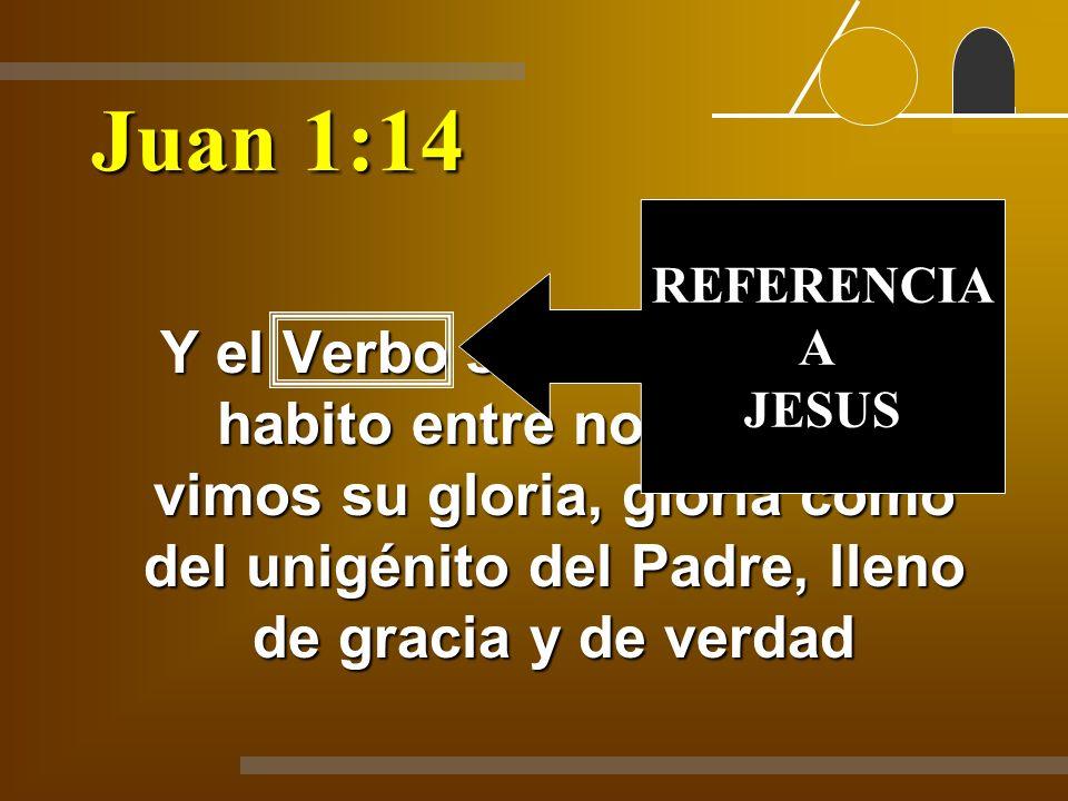 Juan 1:14 Y el Verbo se hizo carne, y habito entre nosotros, y vimos su gloria, gloria como del unigénito del Padre, lleno de gracia y de verdad REFER