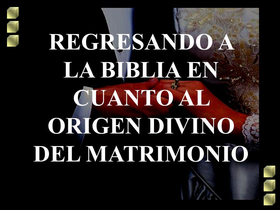 REGRESANDO A LA BIBLIA EN CUANTO AL ORIGEN DIVINO DEL MATRIMONIO