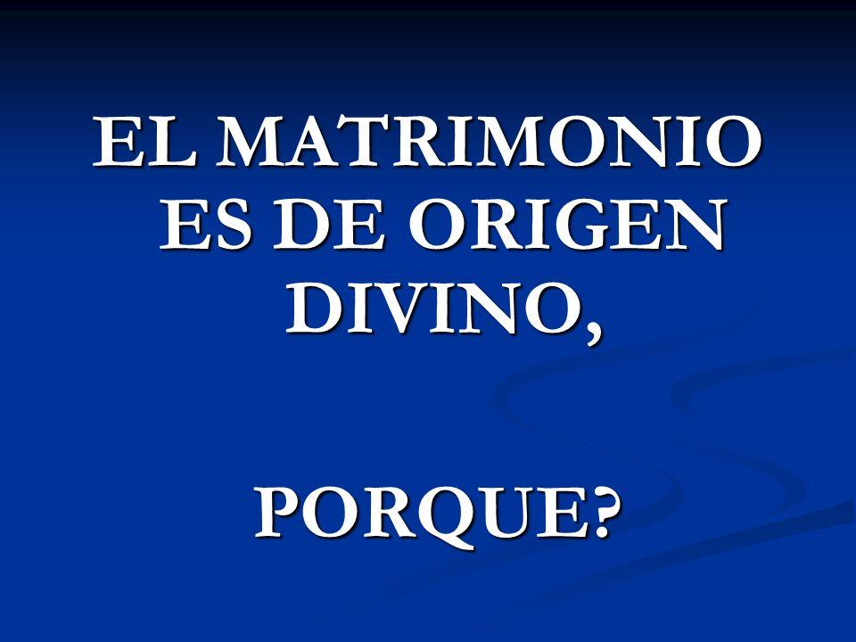 EL MATRIMONIO ES DE ORIGEN DIVINO, PORQUE? PORQUE?