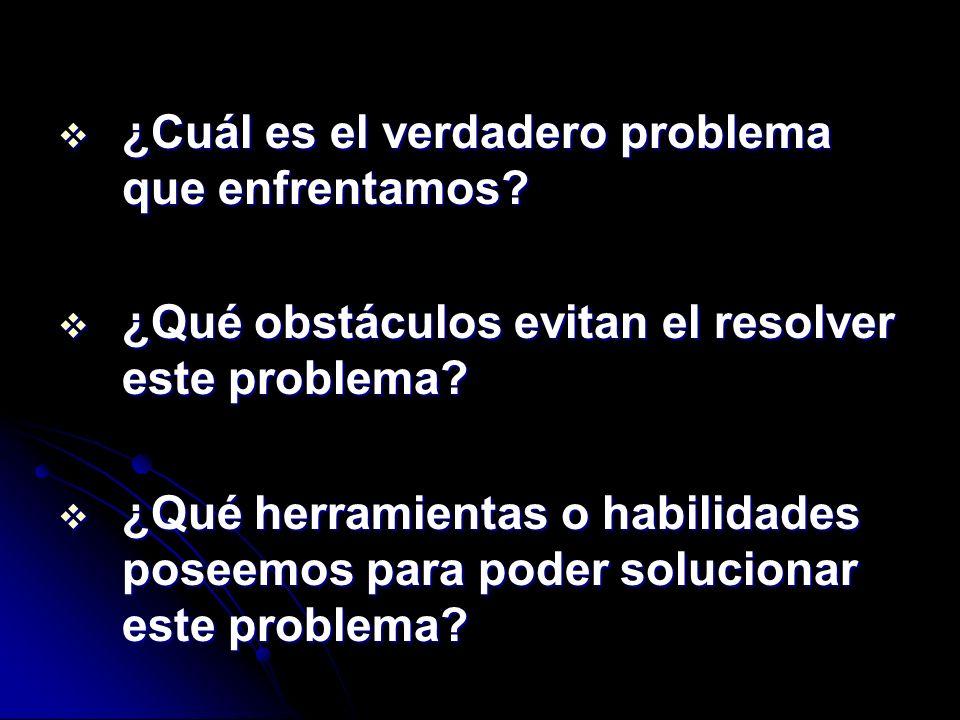 ¿Cuál es el verdadero problema que enfrentamos? ¿Cuál es el verdadero problema que enfrentamos? ¿Qué obstáculos evitan el resolver este problema? ¿Qué