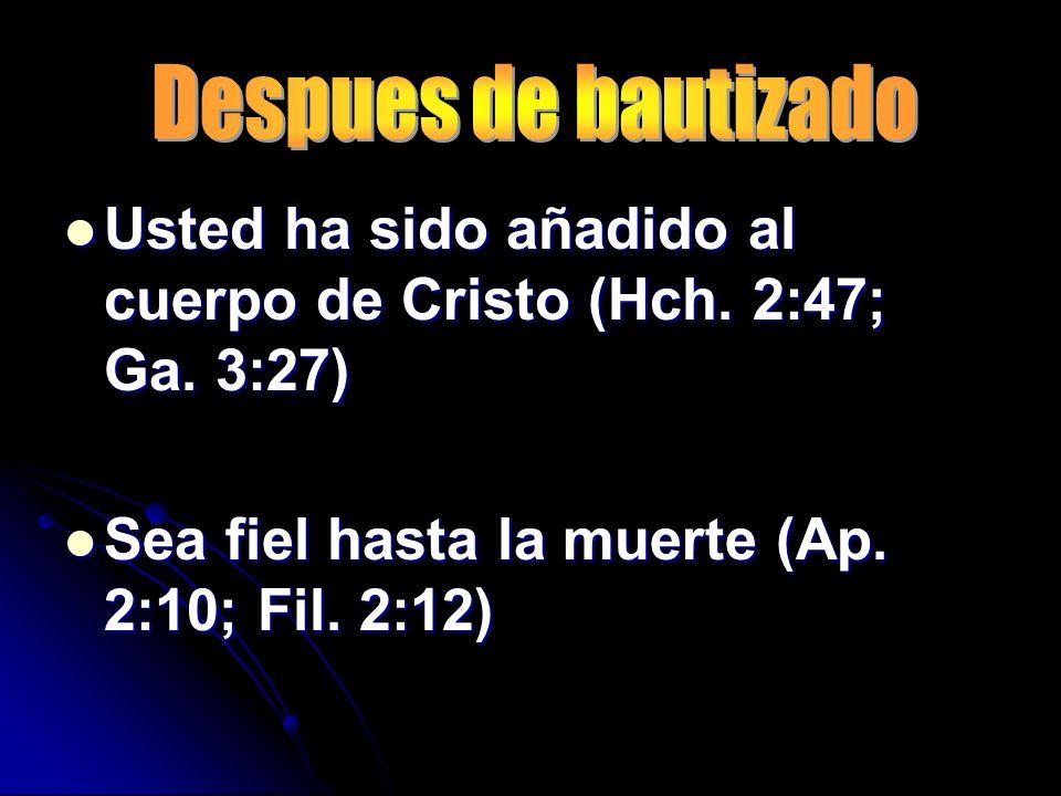 Usted ha sido añadido al cuerpo de Cristo (Hch. 2:47; Ga. 3:27) Usted ha sido añadido al cuerpo de Cristo (Hch. 2:47; Ga. 3:27) Sea fiel hasta la muer