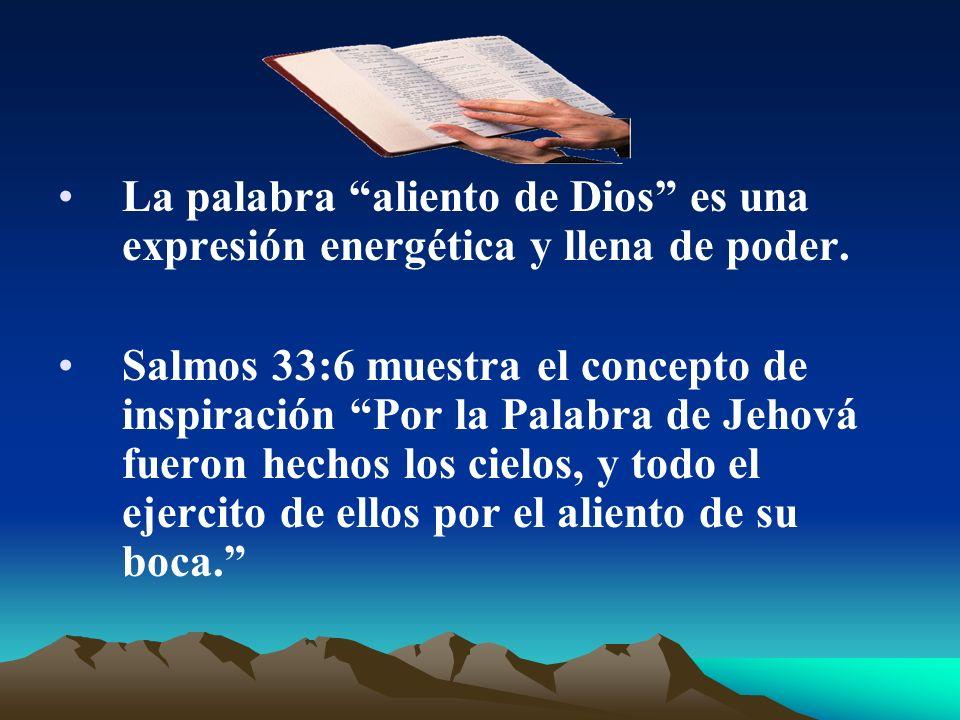 La palabra aliento de Dios es una expresión energética y llena de poder. Salmos 33:6 muestra el concepto de inspiración Por la Palabra de Jehová fuero