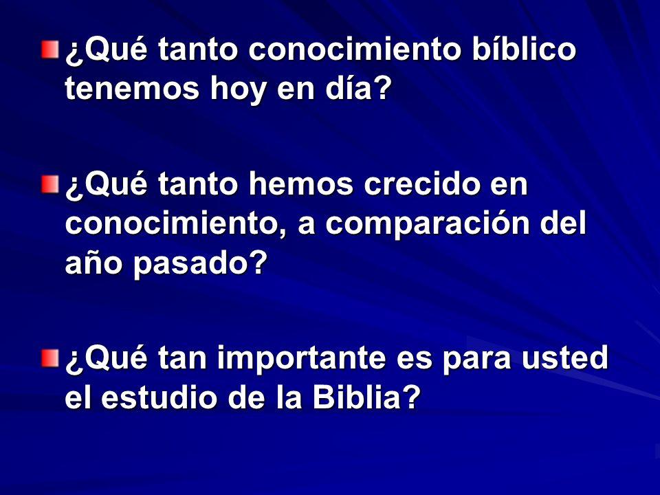¿Qué tanto conocimiento bíblico tenemos hoy en día? ¿Qué tanto hemos crecido en conocimiento, a comparación del año pasado? ¿Qué tan importante es par