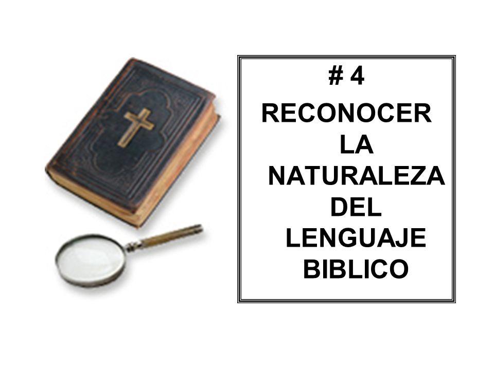 # 4 RECONOCER LA NATURALEZA DEL LENGUAJE BIBLICO