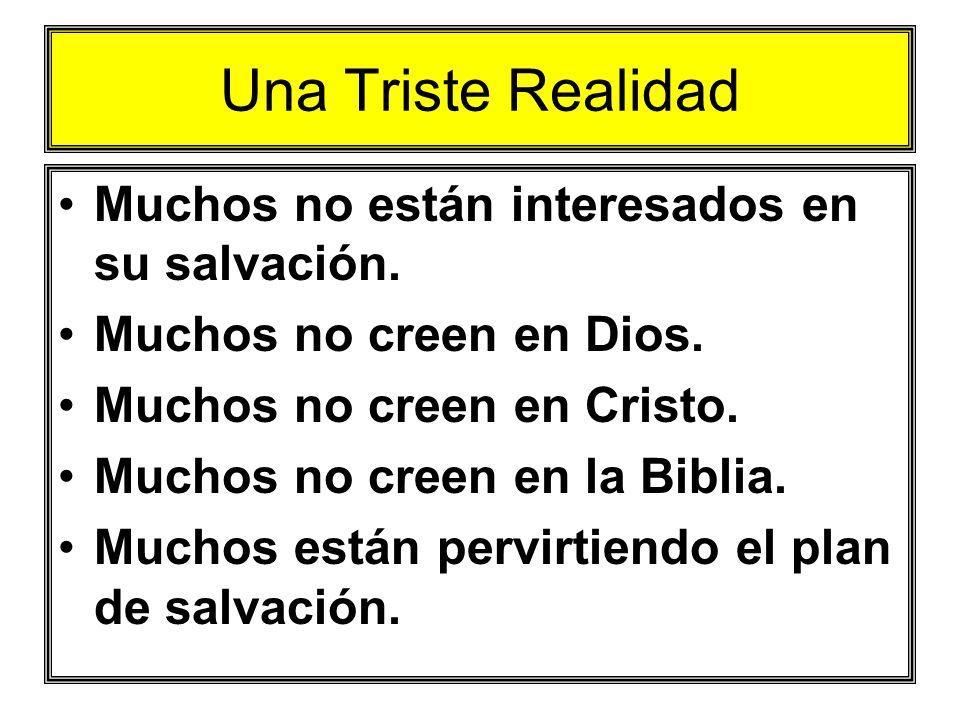 Una Triste Realidad Muchos no están interesados en su salvación. Muchos no creen en Dios. Muchos no creen en Cristo. Muchos no creen en la Biblia. Muc