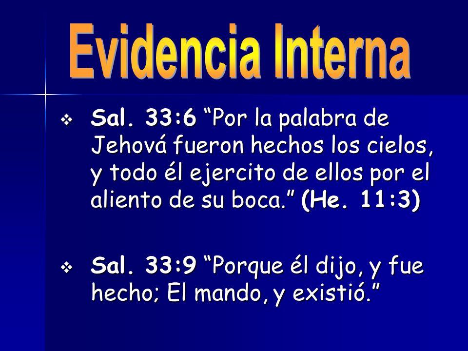 Sal. 33:6 Por la palabra de Jehová fueron hechos los cielos, y todo él ejercito de ellos por el aliento de su boca. (He. 11:3) Sal. 33:6 Por la palabr