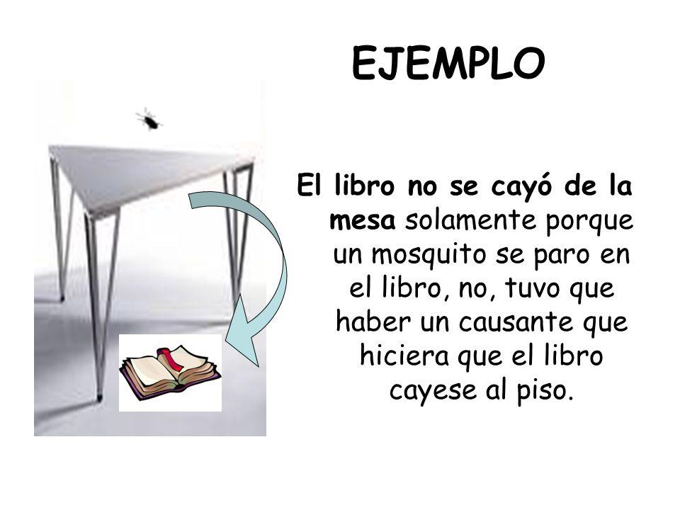 EJEMPLO El libro no se cayó de la mesa solamente porque un mosquito se paro en el libro, no, tuvo que haber un causante que hiciera que el libro cayes