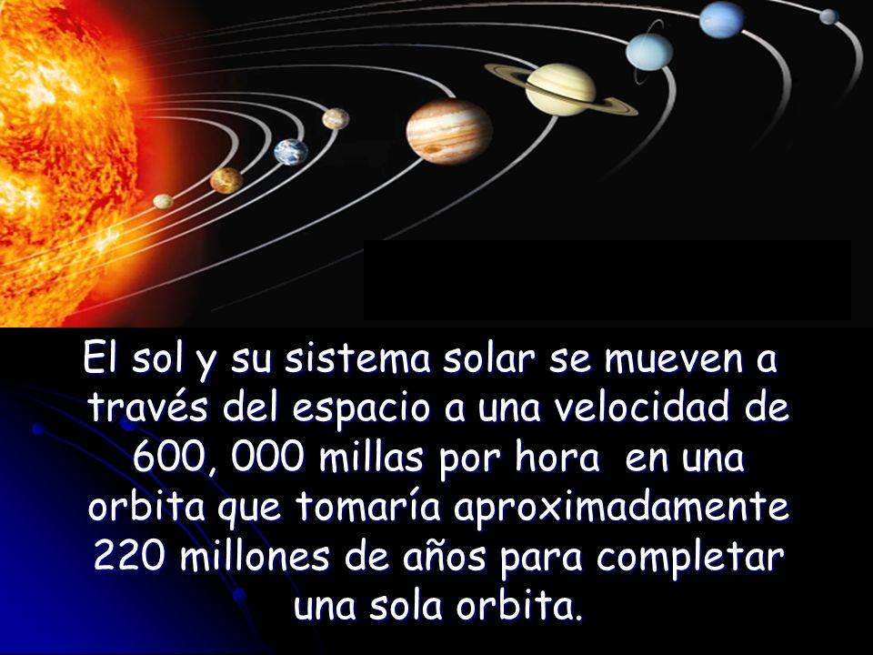 El sol y su sistema solar se mueven a través del espacio a una velocidad de 600, 000 millas por hora en una orbita que tomaría aproximadamente 220 mil