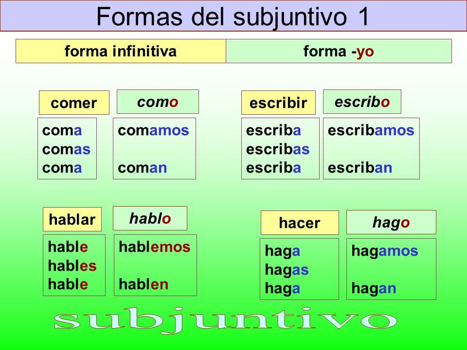 Formas del subjuntivo 1 coma comas coma comer comamos coman escriba escribas escriba escribir escribamos escriban hable hables hable hablar hablemos h