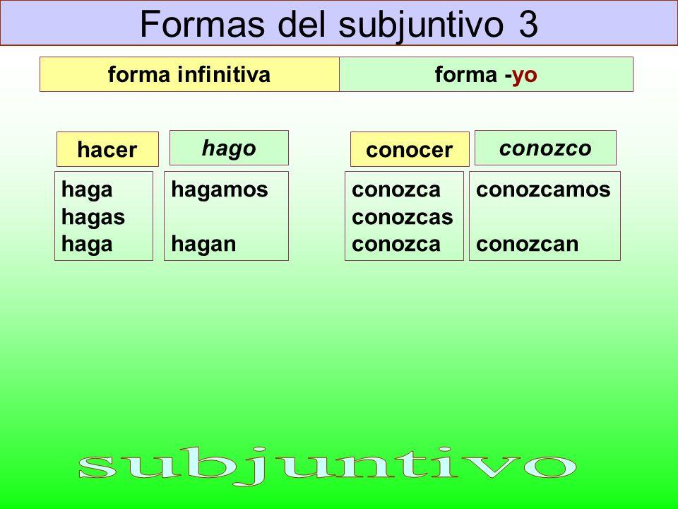 Formas del subjuntivo 3 haga hagas haga hacer hagamos hagan conozca conozcas conozca conocer conozcamos conozcan forma infinitivaforma -yo hagoconozco