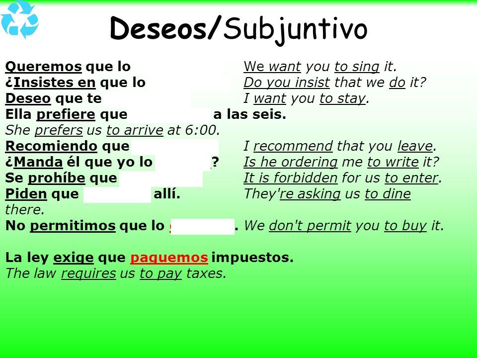 Deseos/Subjuntivo Queremos que lo cantes. We want you to sing it. ¿Insistes en que lo hagamos? Do you insist that we do it? Deseo que te quedes. I wan