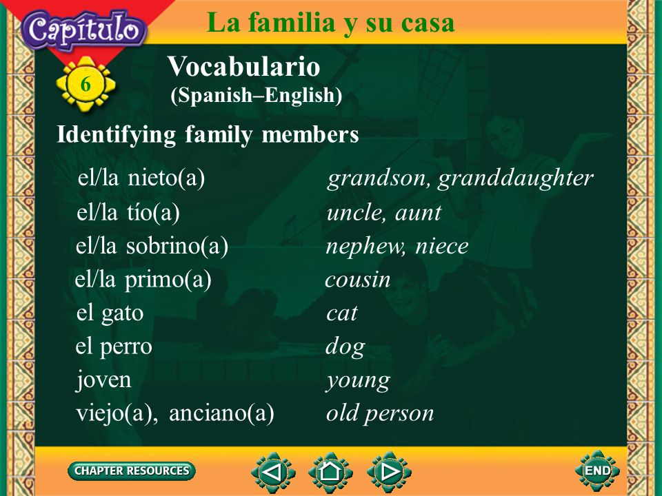 Vocabulario Identifying family members la familiafamily 6 La familia y su casa los parientesrelatives el padrefather la madremother el esposo, el mari
