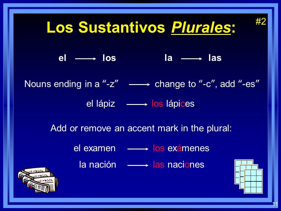 10 Los Sustantivos Plurales: el los la las Nouns ending in a vowel add -s el chico los chicos la silla las sillas Nouns ending in a consonant add -es