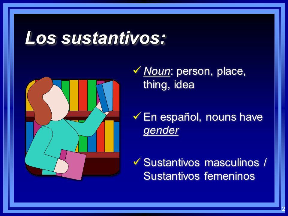 2 Los sustantivos: Noun: person, place, thing, idea En español, nouns have gender Sustantivos masculinos / Sustantivos femeninos Noun: person, place, thing, idea En español, nouns have gender Sustantivos masculinos / Sustantivos femeninos