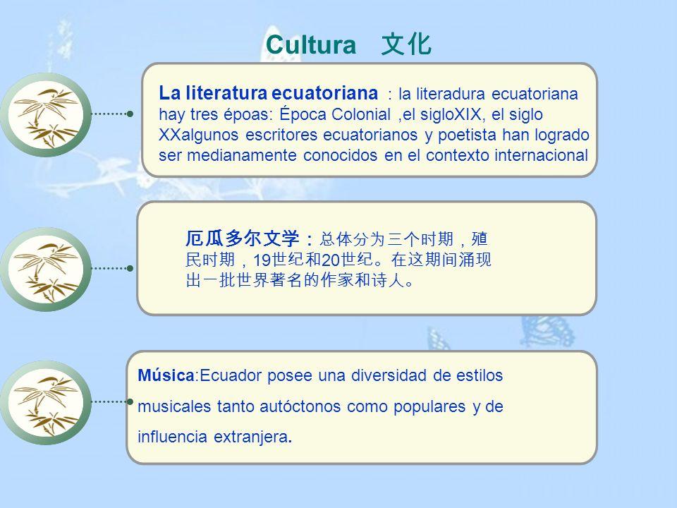 Cultura La literatura ecuatoriana la literadura ecuatoriana hay tres époas: Época Colonial,el sigloXIX, el siglo XXalgunos escritores ecuatorianos y p