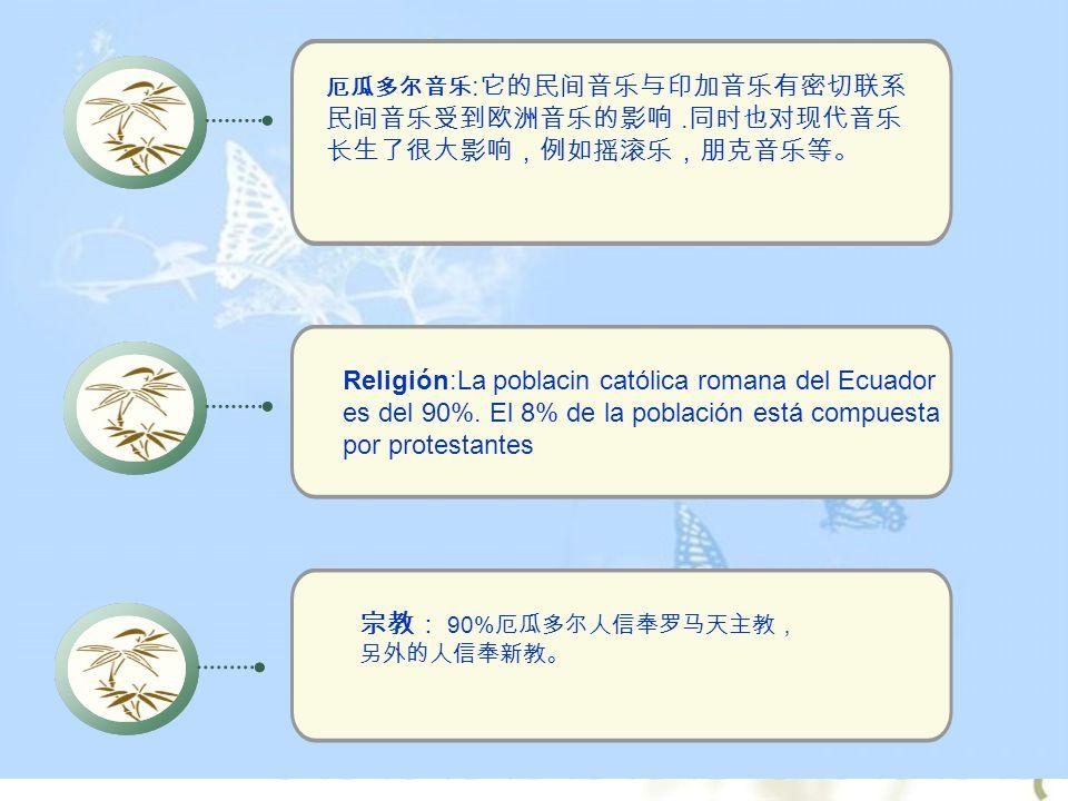 :. Religión:La poblacin católica romana del Ecuador es del 90%. El 8% de la población está compuesta por protestantes 90%