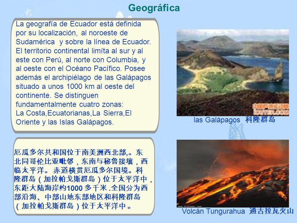Geográfica La geografía de Ecuador está definida por su localización, al noroeste de Sudamérica y sobre la línea de Ecuador. El territorio continental