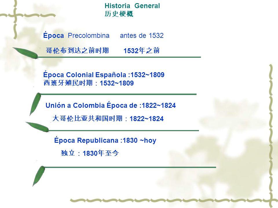Historia General Época Colonial Española :1532~1809 1532~1809 Época Precolombinaantes de 1532 1532 Unión a Colombia Época de :1822~1824 1822~1824 Époc