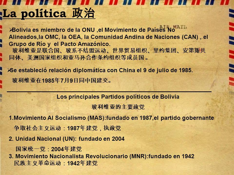 La política Bolivia es miembro de la ONU,el Movimiento de Países No Alineados,la OMC, la OEA, la Comunidad Andina de Naciones (CAN), el Grupo de Río y el Pacto Amazónico.