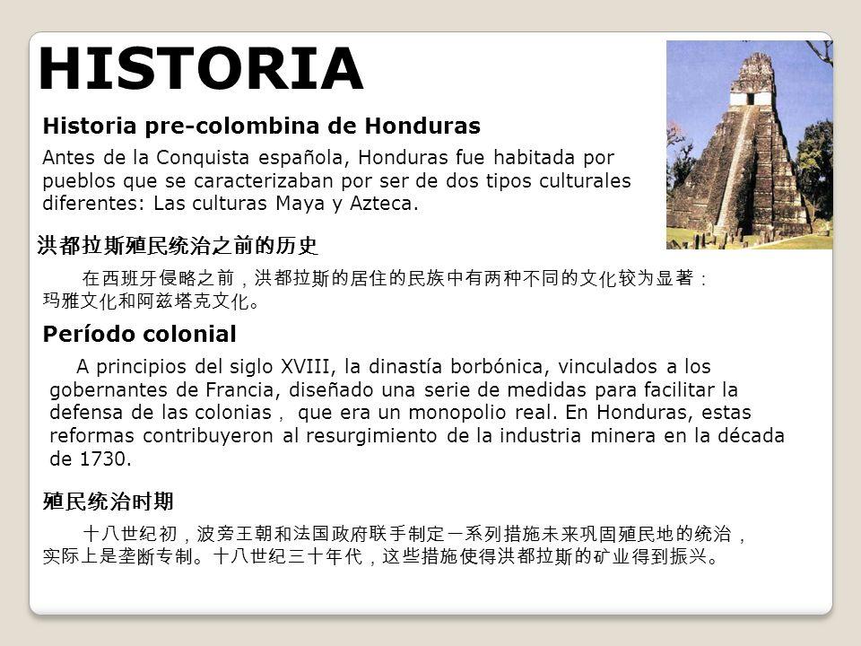 HISTORIA Historia pre-colombina de Honduras Antes de la Conquista española, Honduras fue habitada por pueblos que se caracterizaban por ser de dos tip