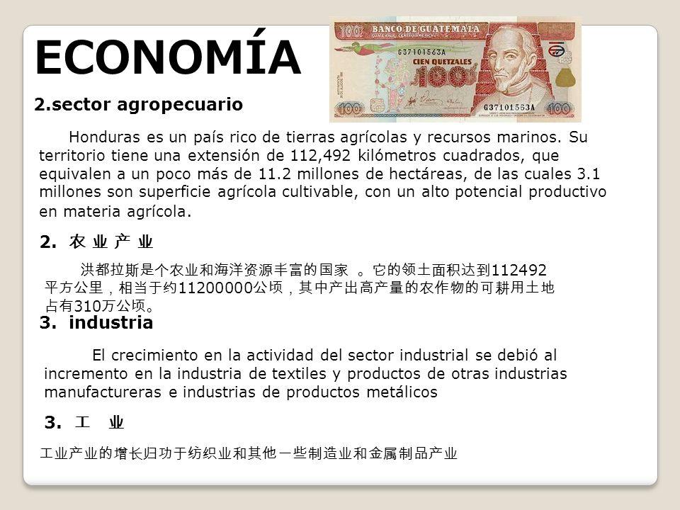 ECONOMÍA 2.sector agropecuario Honduras es un país rico de tierras agrícolas y recursos marinos. Su territorio tiene una extensión de 112,492 kilómetr