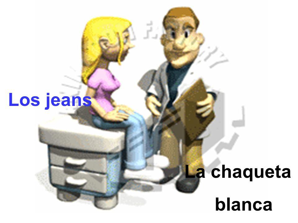 La chaqueta blanca Los jeans