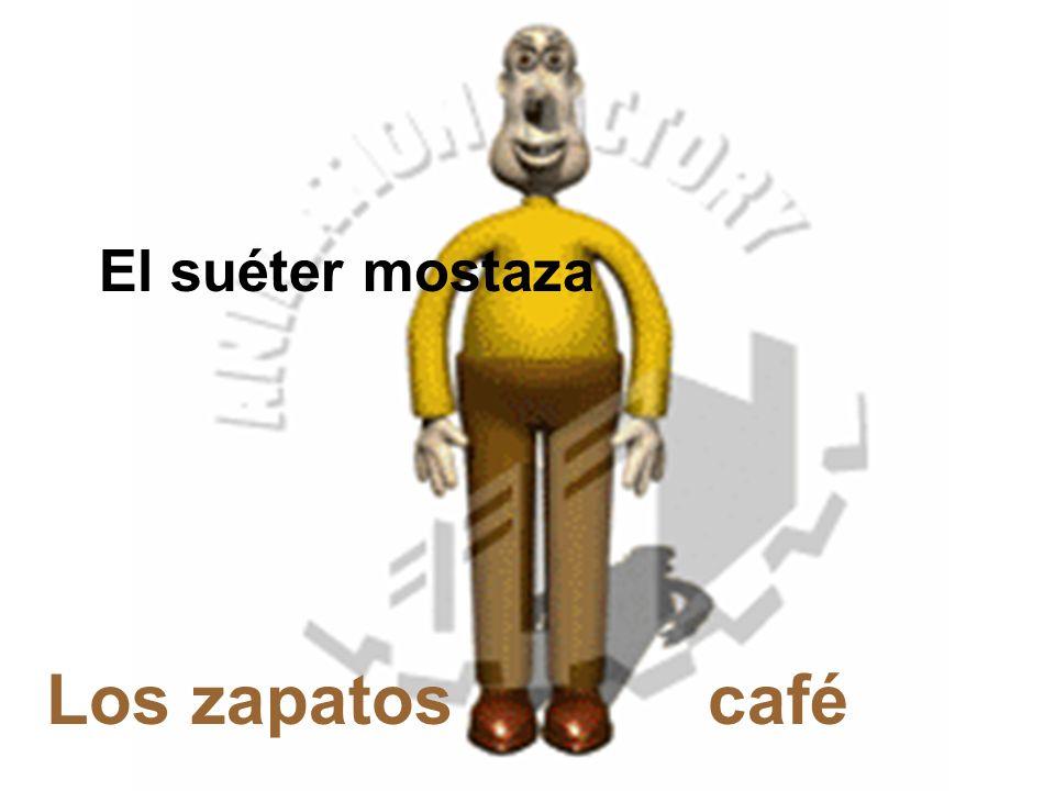 Los zapatos café El suéter mostaza