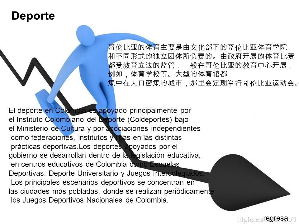 Deporte El deporte en Colombia es apoyado principalmente por el Instituto Colombiano del Deporte (Coldeportes) bajo el Ministerio de Cultura y por aso