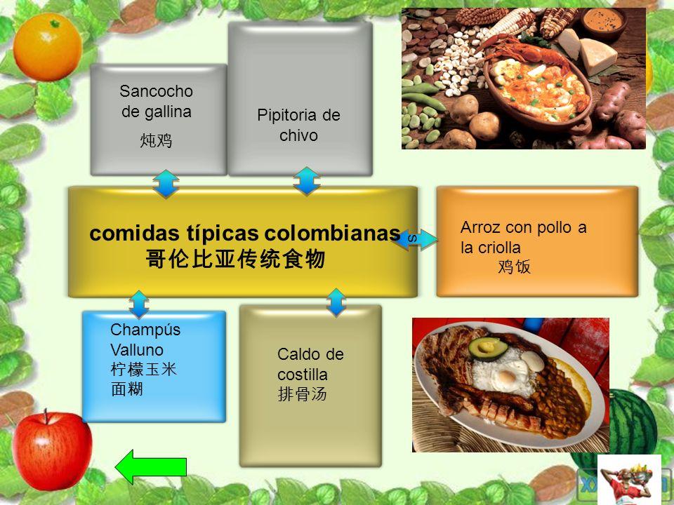 Pipitoria de chivo Sancocho de gallina ss comidas típicas colombianas Champús Valluno Caldo de costilla Arroz con pollo a la criolla