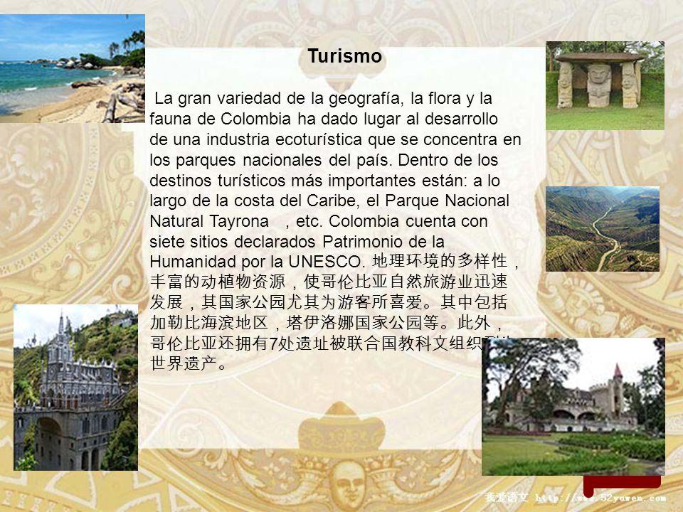 regresa Turismo La gran variedad de la geografía, la flora y la fauna de Colombia ha dado lugar al desarrollo de una industria ecoturística que se con