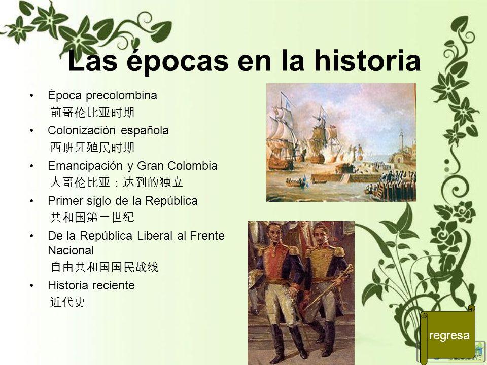 Las épocas en la historia Época precolombina Colonización española Emancipación y Gran Colombia Primer siglo de la República De la República Liberal a