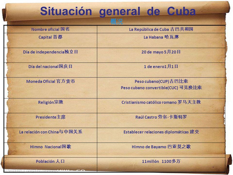 Situación general de Cuba Nombre oficial La República de Cuba Capital La Habana Día de independencia 20 de mayo 5 20 Día del nacional 1 de enero1 1 Mo