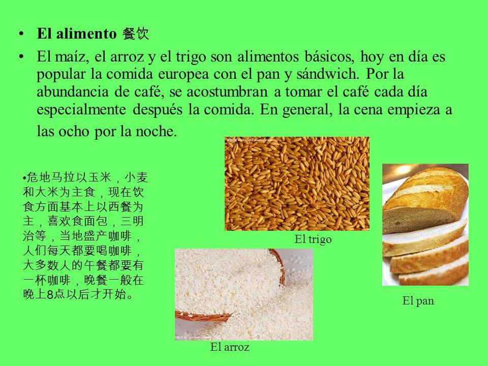 El alimento El maíz, el arroz y el trigo son alimentos básicos, hoy en día es popular la comida europea con el pan y sándwich.