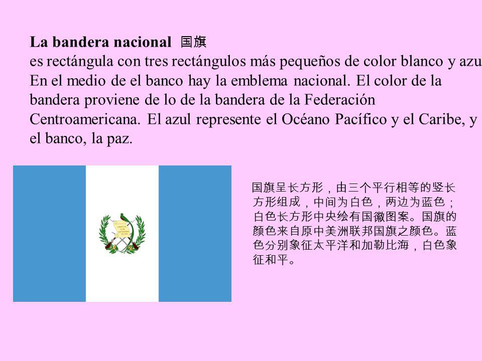 La bandera nacional es rectángula con tres rectángulos más pequeños de color blanco y azul.