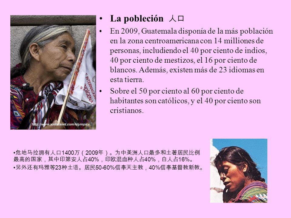 La pobleción En 2009, Guatemala disponía de la más población en la zona centroamericana con 14 milliones de personas, includiendo el 40 por ciento de indios, 40 por ciento de mestizos, el 16 por ciento de blancos.
