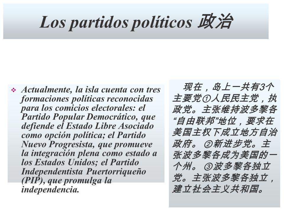 Los partidos políticos Actualmente, la isla cuenta con tres formaciones políticas reconocidas para los comicios electorales: el Partido Popular Democr