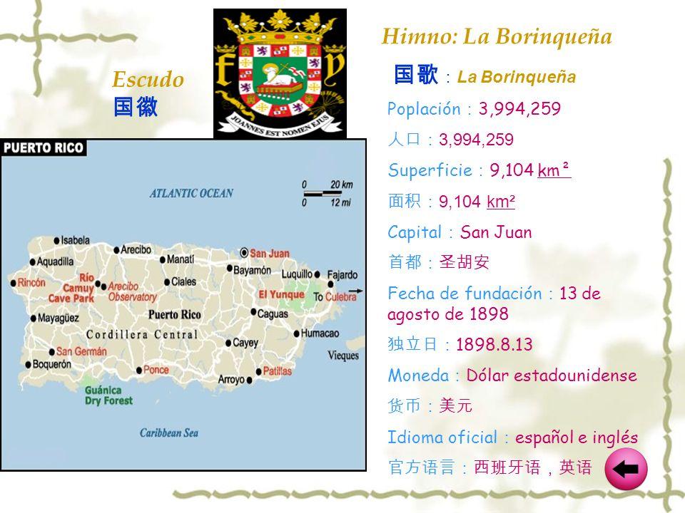 Poplación 3,994,259 3,994,259 Superficie 9,104 km²km² 9,104 km²km² Capital San Juan Fecha de fundación 13 de agosto de 1898 1898.8.13 Moneda Dólar est