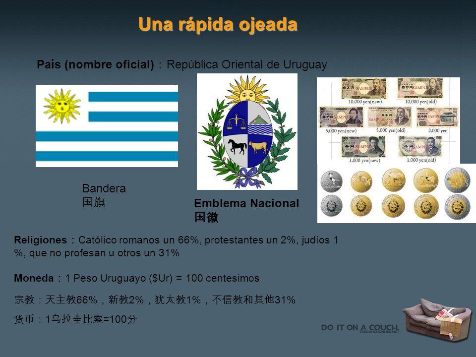 Una rápida ojeada País (nombre oficial) República Oriental de Uruguay Bandera Emblema Nacional Religiones Católico romanos un 66%, protestantes un 2%,