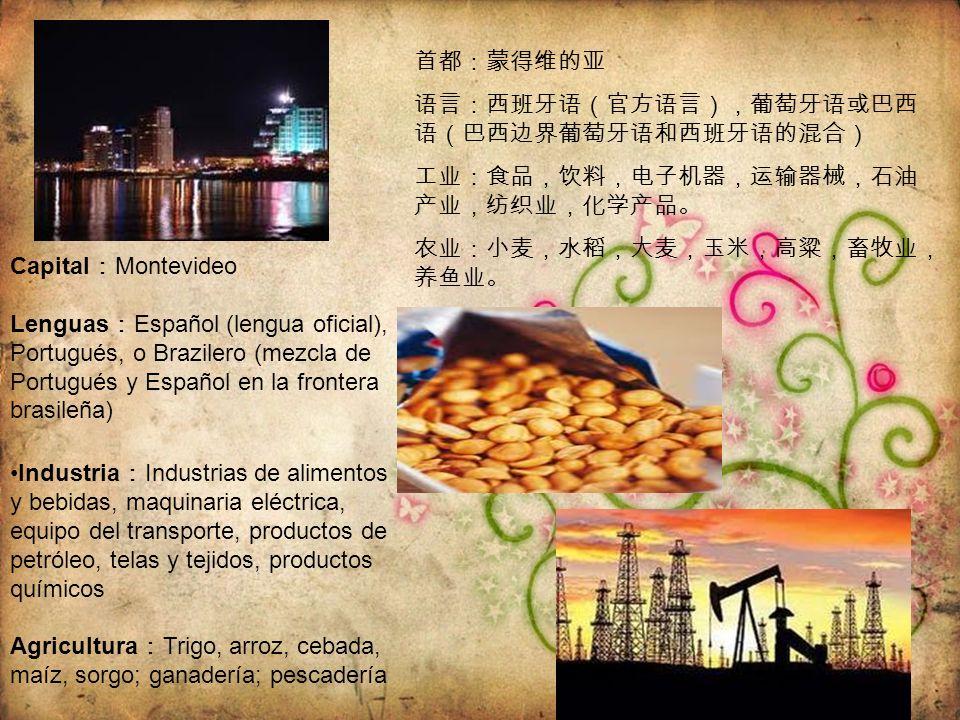Capital Montevideo Lenguas Español (lengua oficial), Portugués, o Brazilero (mezcla de Portugués y Español en la frontera brasileña) Industria Industr