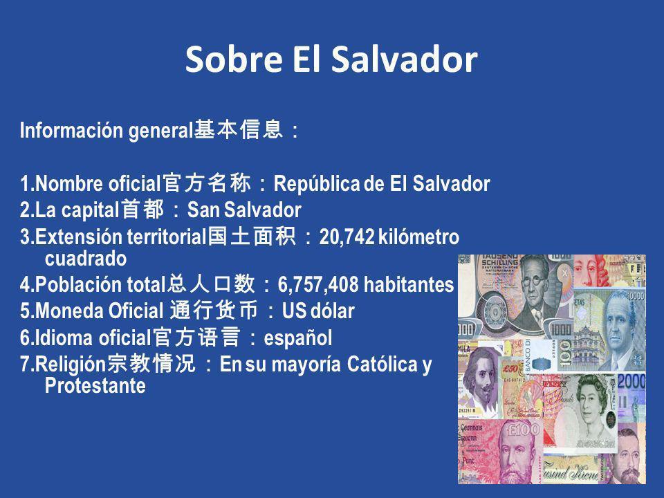 Sobre El Salvador Información general 1.Nombre oficial República de El Salvador 2.La capital San Salvador 3.Extensión territorial 20,742 kilómetro cua