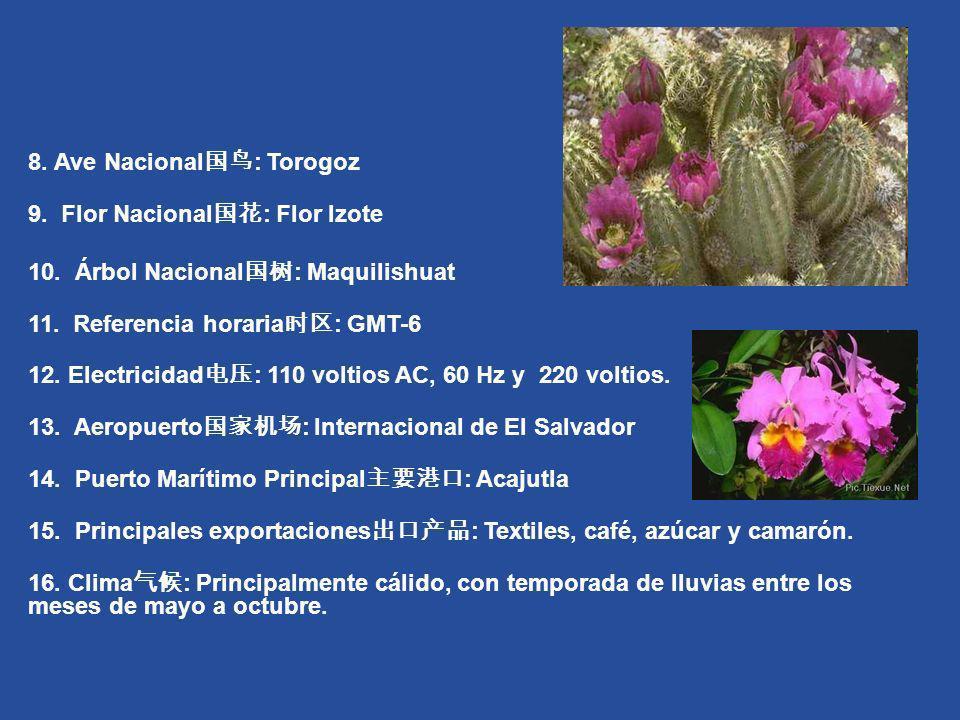 8. Ave Nacional : Torogoz 9. Flor Nacional : Flor Izote 10. Árbol Nacional : Maquilishuat 11. Referencia horaria : GMT-6 12. Electricidad : 110 voltio