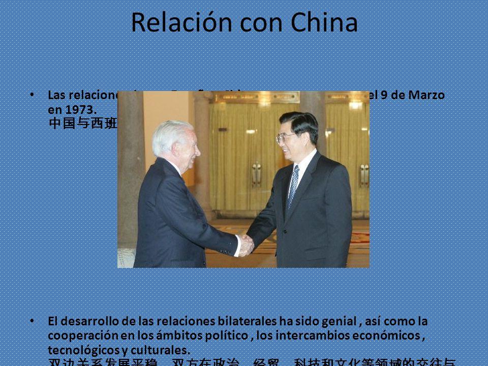 Relación con China Las relaciones dentro España y China se construyeron en el 9 de Marzo en 1973. 1973 3 9 El desarrollo de las relaciones bilaterales