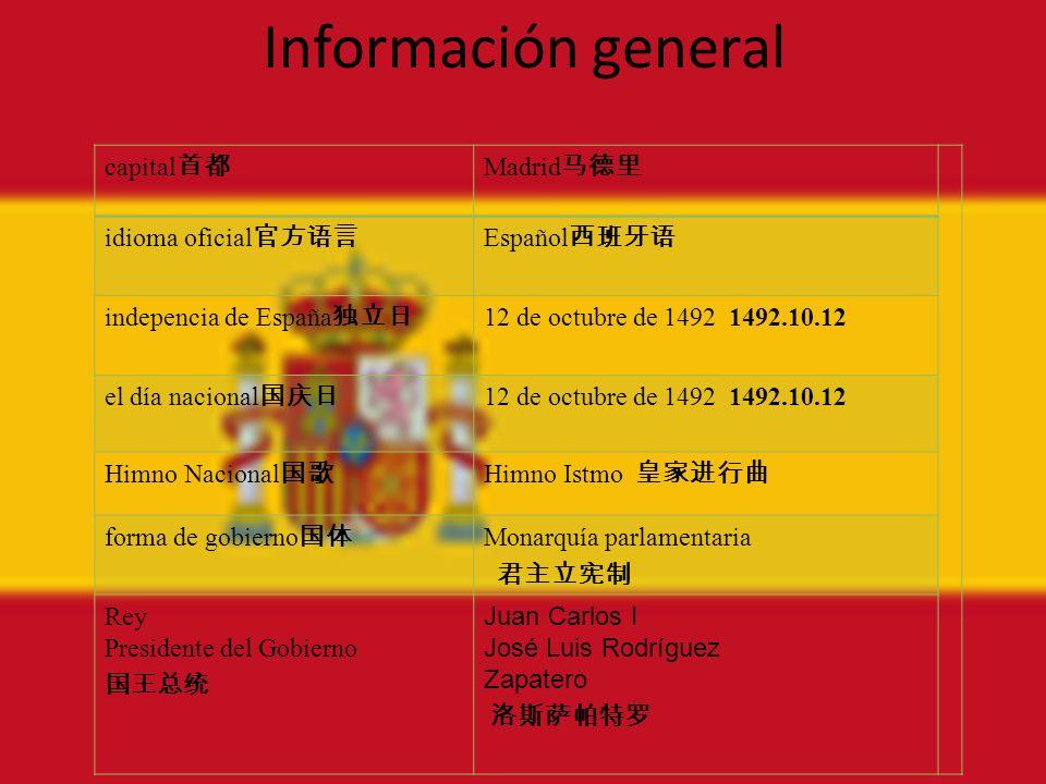 Información general capital Madrid idioma oficial Español indepencia de España 12 de octubre de 1492 1492.10.12 el día nacional 12 de octubre de 1492