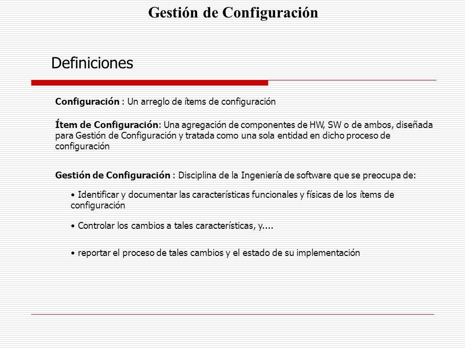 Gestión de Configuración Definiciones Configuración : Un arreglo de ítems de configuración Ítem de Configuración: Una agregación de componentes de HW,