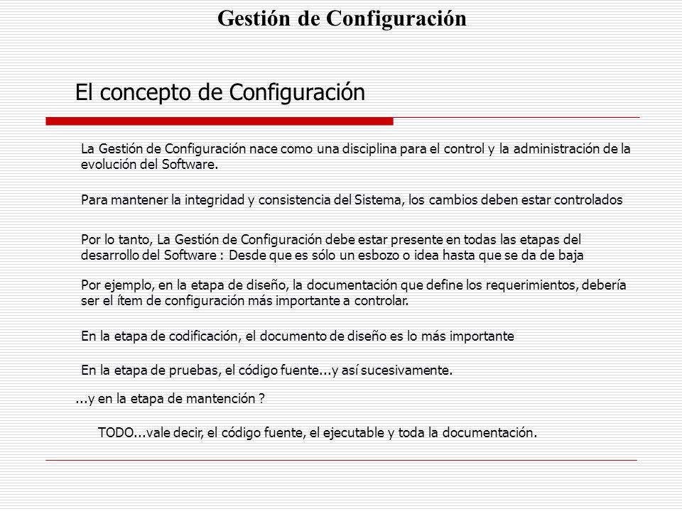 Gestión de Configuración El concepto de Configuración La Gestión de Configuración nace como una disciplina para el control y la administración de la e