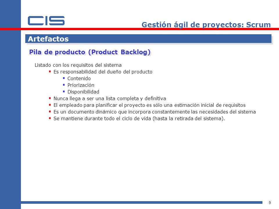 10 Artefactos Pila de producto Gestión ágil de proyectos: Scrum
