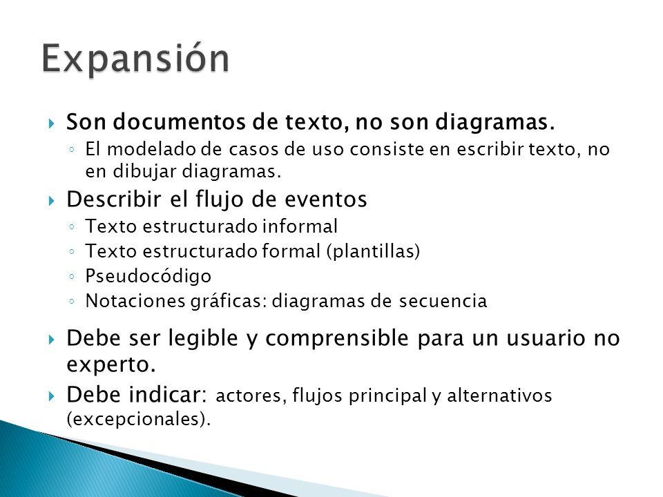 Son documentos de texto, no son diagramas. El modelado de casos de uso consiste en escribir texto, no en dibujar diagramas. Describir el flujo de even